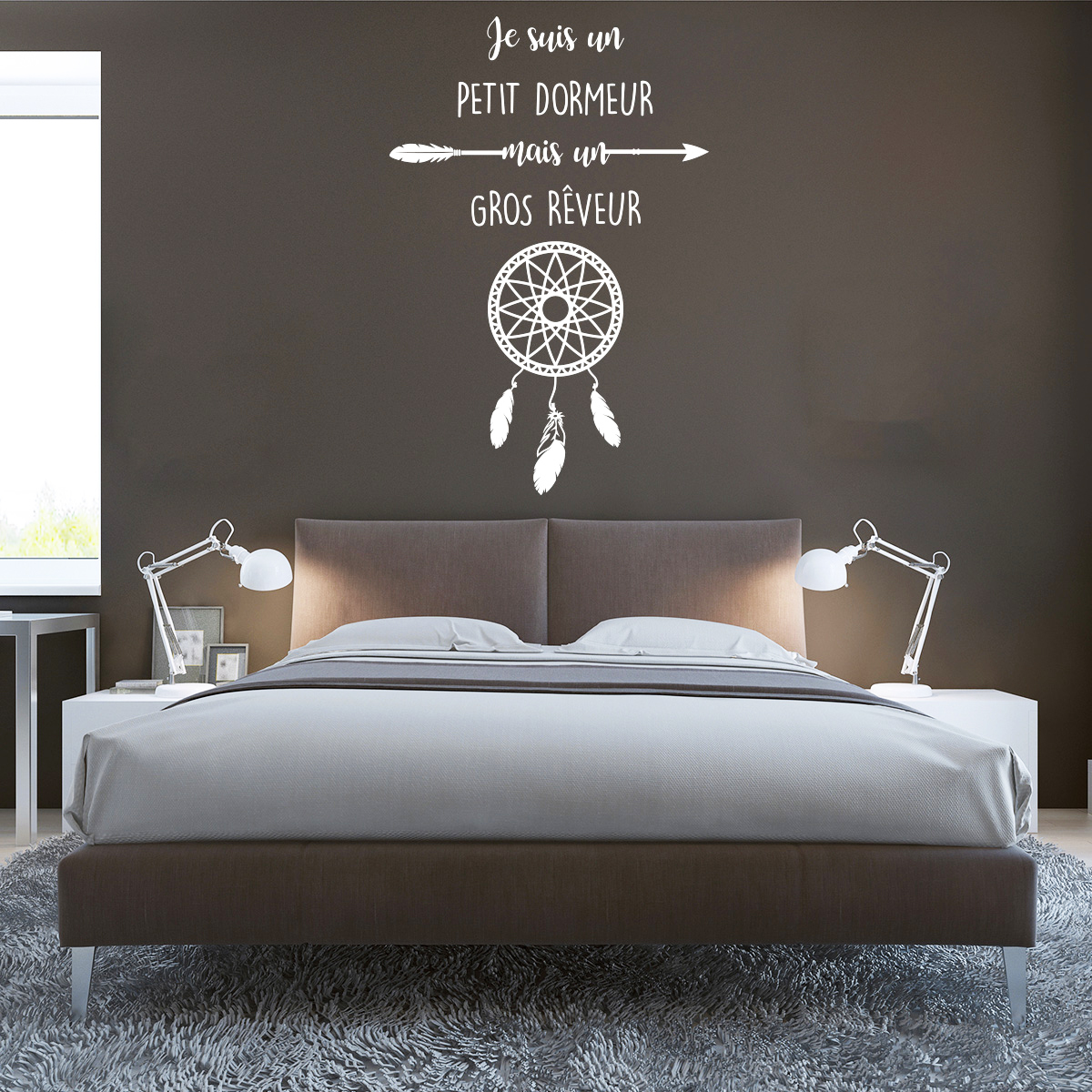 sticker citation je suis un petit dormeur attrape r ve stickers citations fran ais. Black Bedroom Furniture Sets. Home Design Ideas