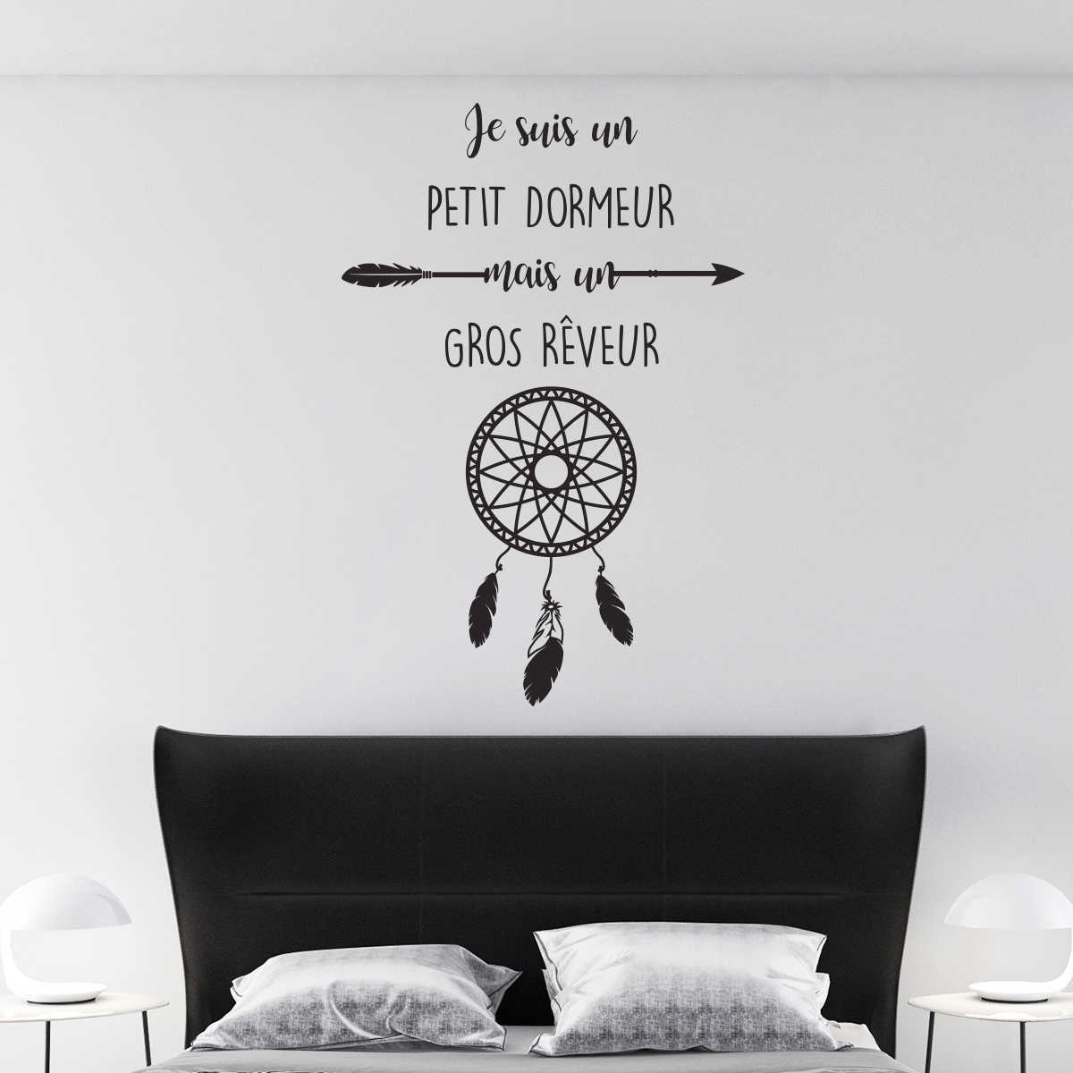 sticker citation je suis un petit dormeur attrape r ve. Black Bedroom Furniture Sets. Home Design Ideas