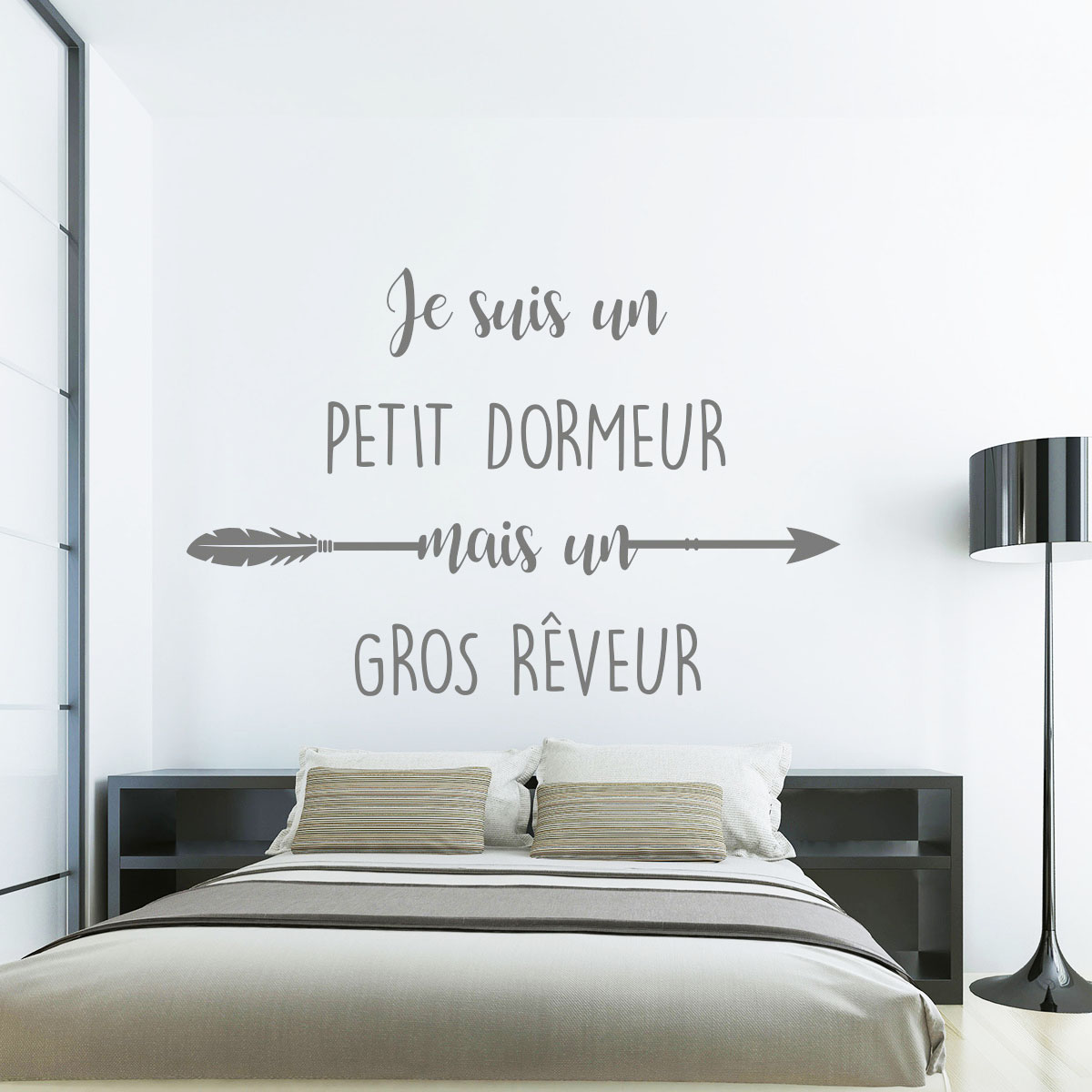 sticker citation je suis un petit dormeur mais un gros. Black Bedroom Furniture Sets. Home Design Ideas