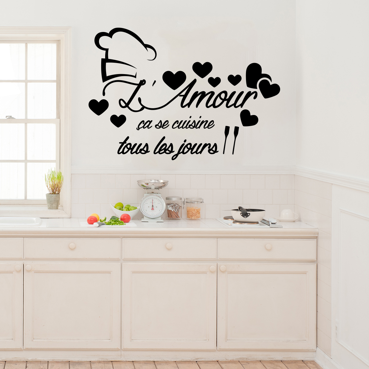 sticker citation l 39 amour a se cuisine stickers citations fran ais ambiance sticker. Black Bedroom Furniture Sets. Home Design Ideas