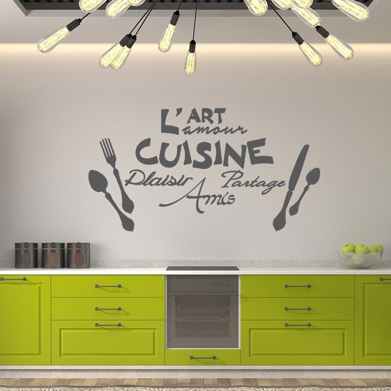 Sticker citation l 39 art l 39 amour de la cuisine for Art de la cuisine