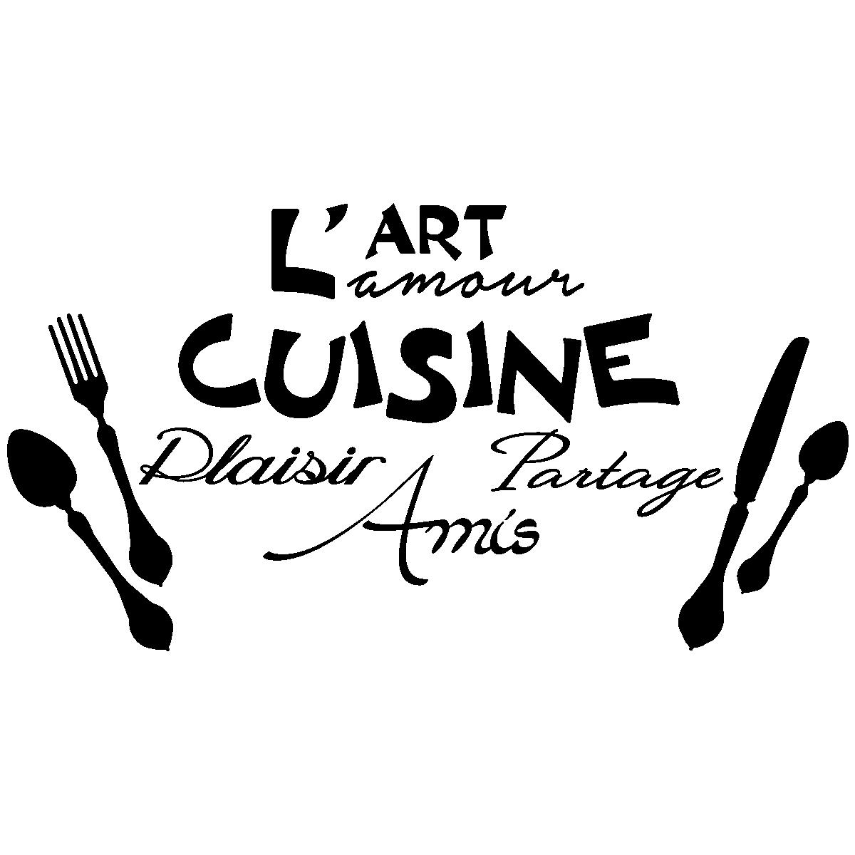 Sticker citation l 39 art l 39 amour de la cuisine - Video amour dans la cuisine ...