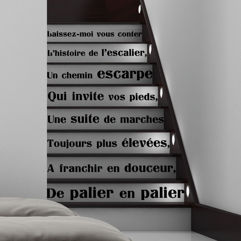 sticker citation l 39 histoire de l 39 escalier stickers citations fran ais ambiance sticker. Black Bedroom Furniture Sets. Home Design Ideas