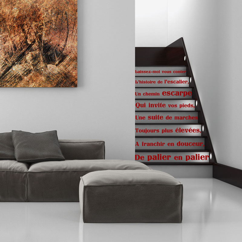sticker citation l 39 histoire de l 39 escalier stickers. Black Bedroom Furniture Sets. Home Design Ideas