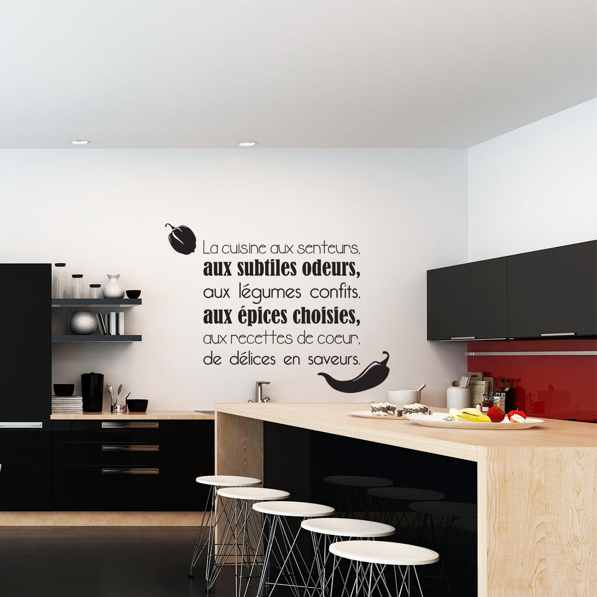 sticker citation la cuisine aux senteurs stickers citations fran ais ambiance sticker. Black Bedroom Furniture Sets. Home Design Ideas