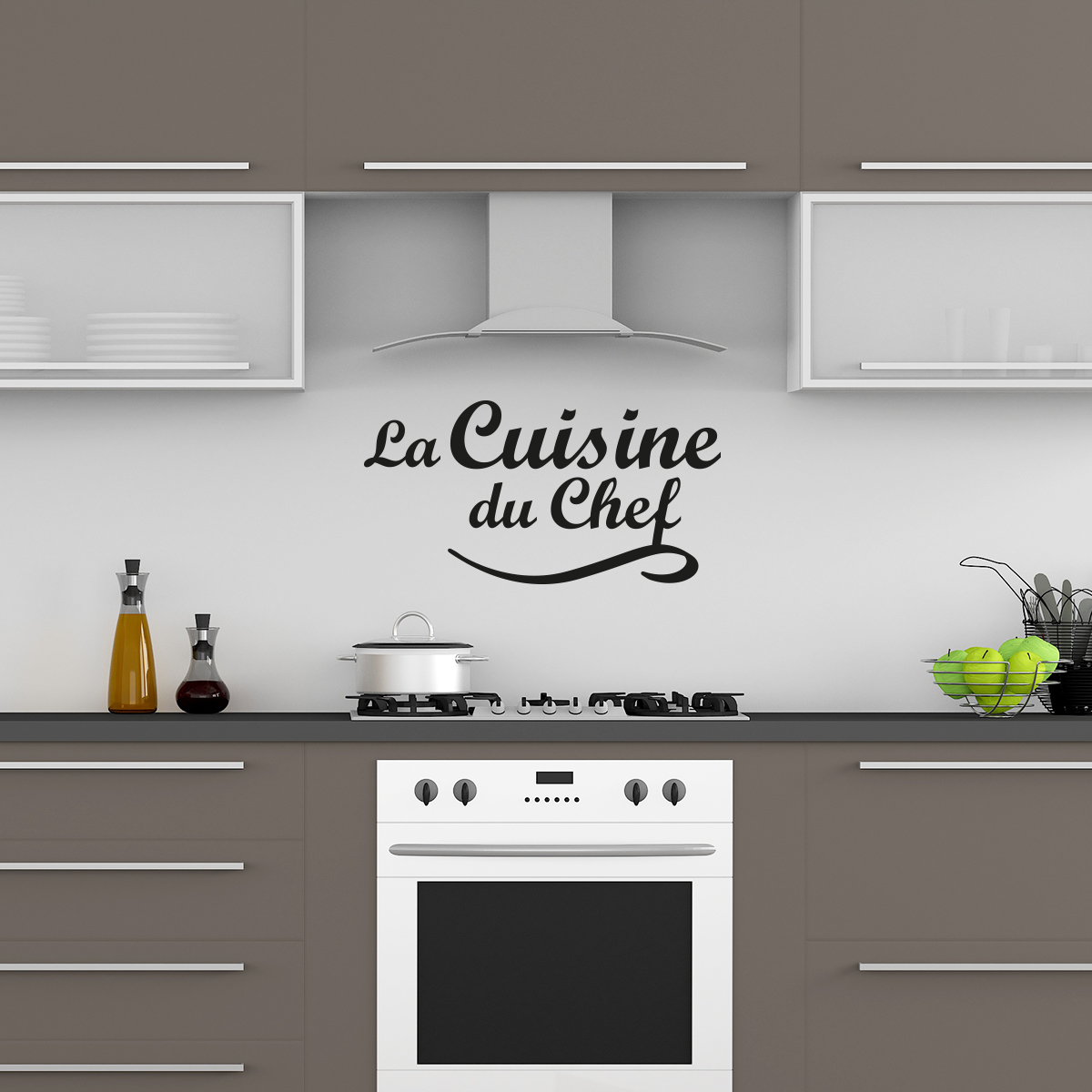 Sticker citation la cuisine du chef stickers citations for Stickers carrelage cuisine 15x15