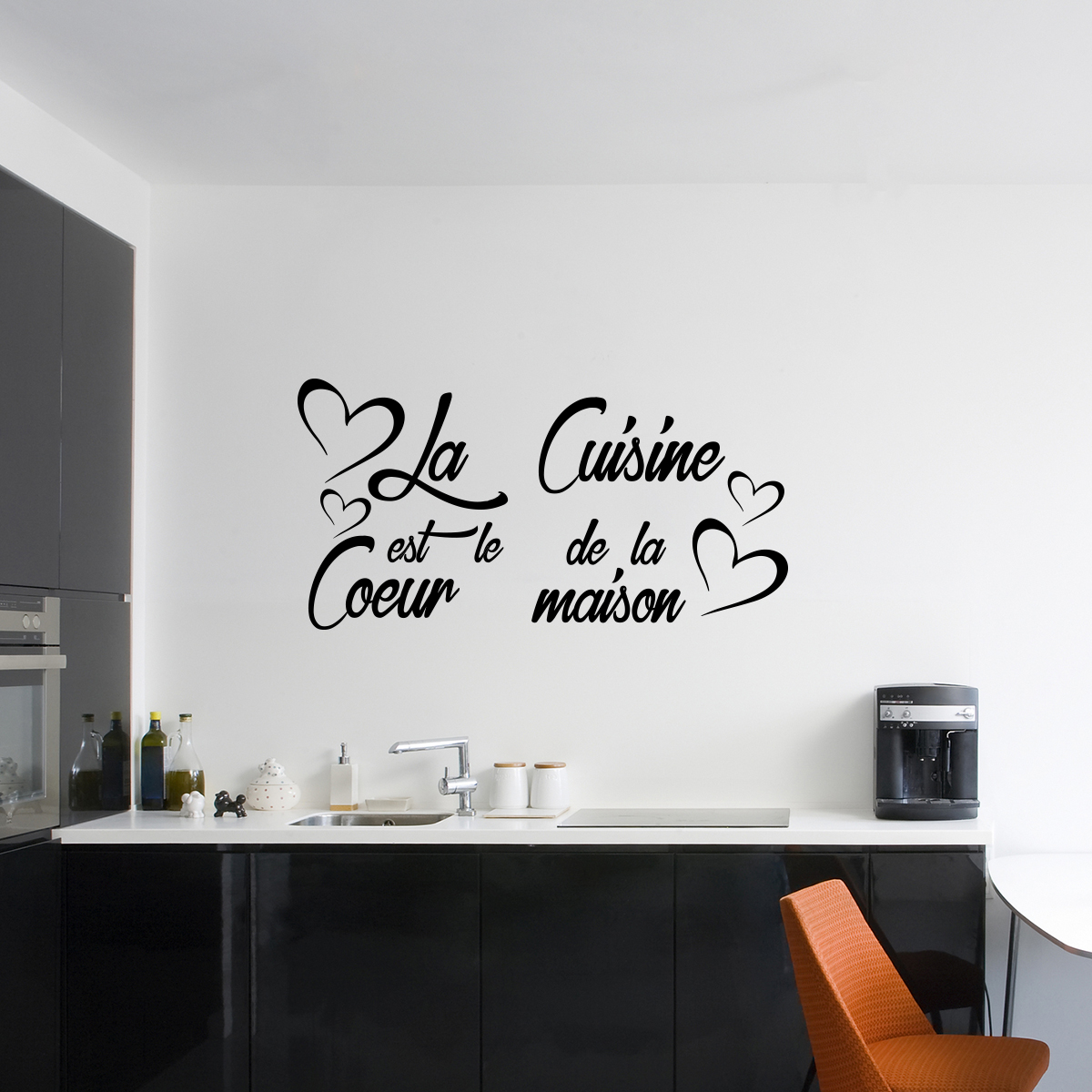 Sticker citation la cuisine est le coeur de la maison for Autocollant decoratif maison