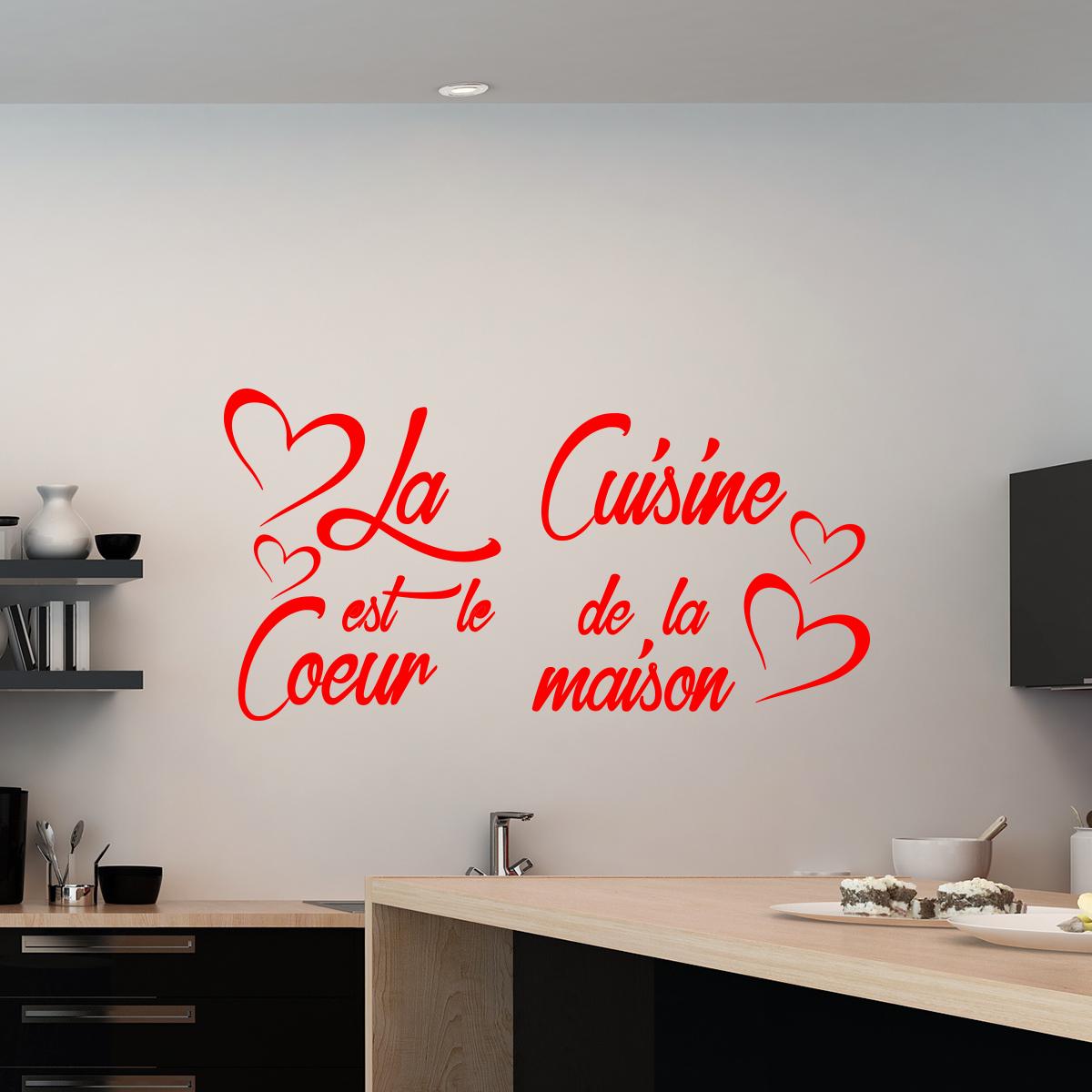 Sticker citation la cuisine est le coeur de la maison stickers citations fran ais ambiance - Cadre regle de la maison ...