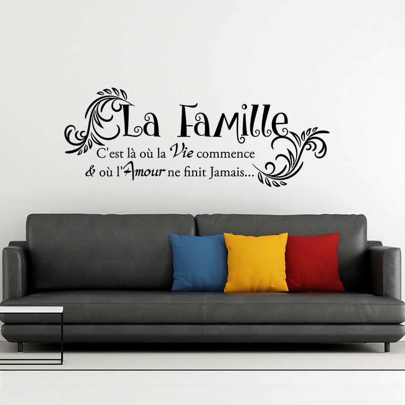 Stickers citation famille id e inspirante for Autocollant mural texte