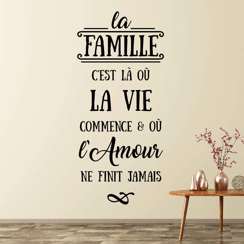 sticker citation la famille c 39 est l o la vie stickers citations fran ais ambiance sticker. Black Bedroom Furniture Sets. Home Design Ideas