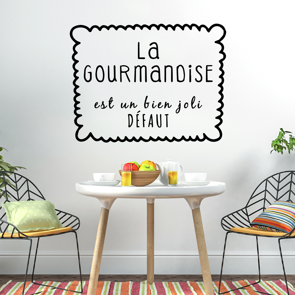 sticker citation la gourmandise est un bien joli d faut. Black Bedroom Furniture Sets. Home Design Ideas