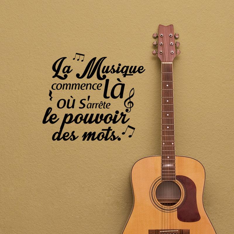 Acoustic Guitar Wallpaper For Facebook Cover With Quotes: Sticker Citation La Musique Commence Là Où...