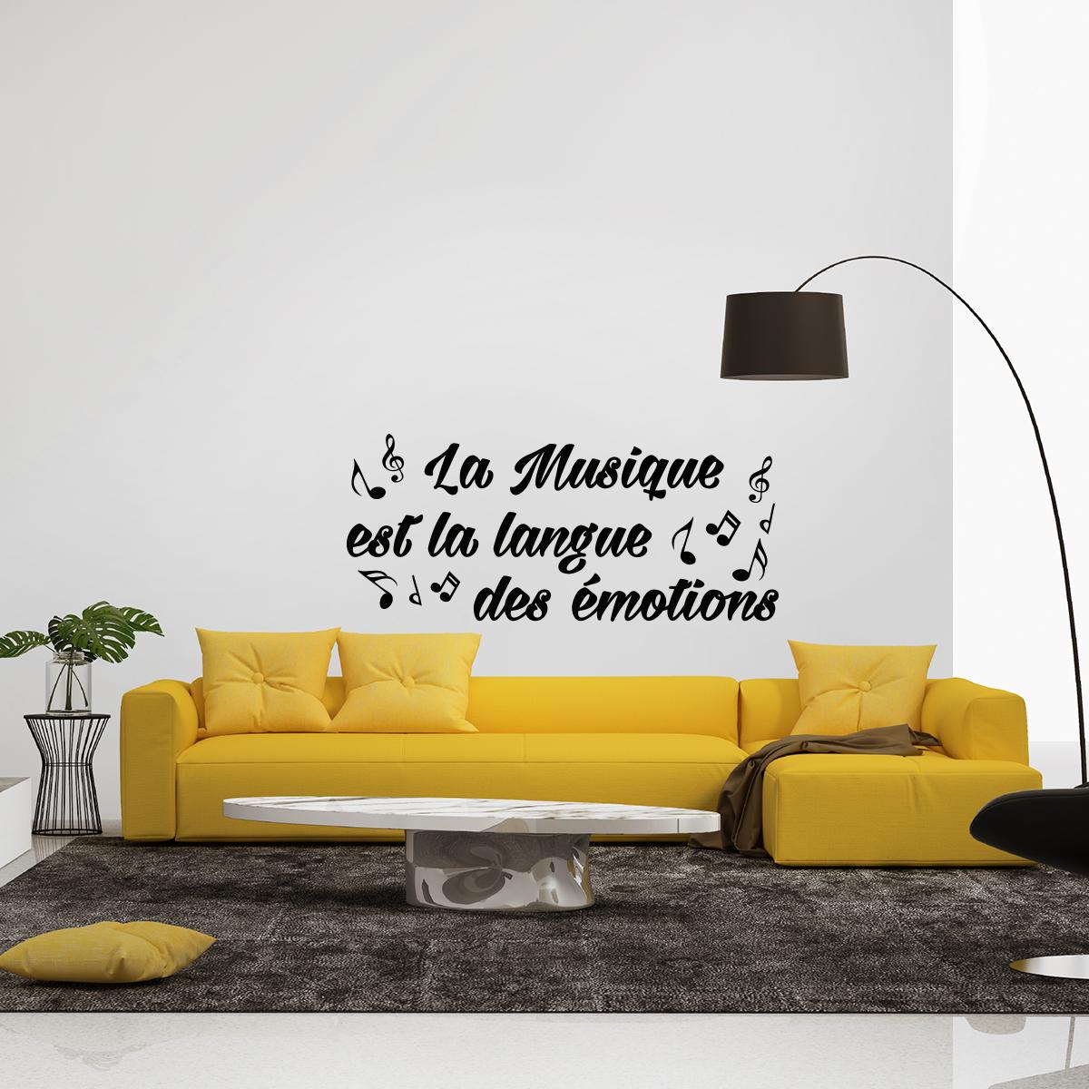 Meuble Salle De Bain Emotion ~ sticker citation la musique est la langue des motions stickers