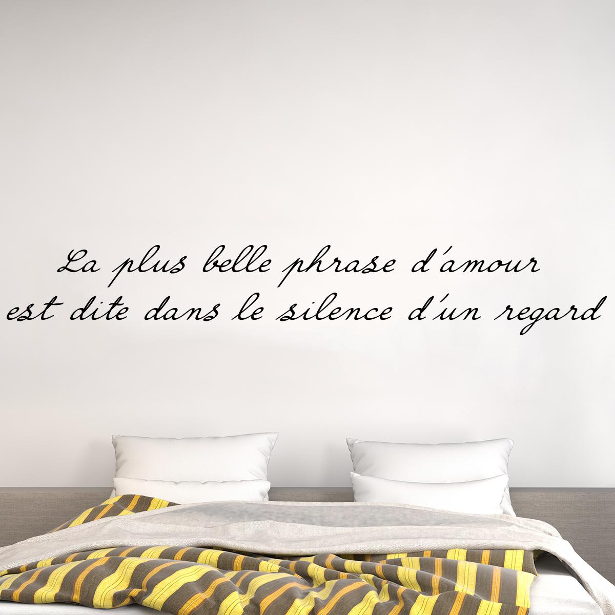 Sticker citation la plus belle phrase d 39 amour stickers for Collant mural francais