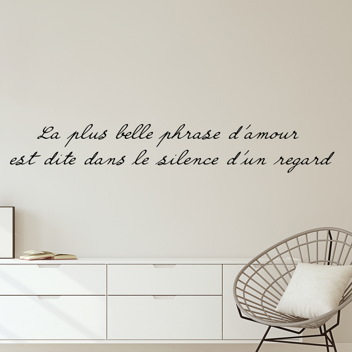 sticker citation la plus belle phrase d 39 amour stickers. Black Bedroom Furniture Sets. Home Design Ideas