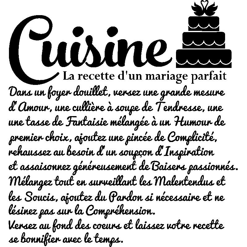 Sticker citation la recette d 39 un mariage parfait stickers citations fran ais ambiance sticker - Recette de cuisine drole ...
