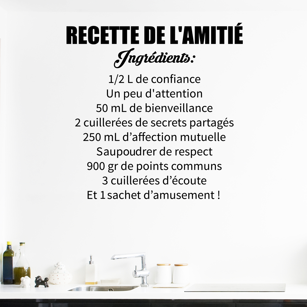 Sticker citation la recette de l 39 amiti stickers for Proverbe cuisine humour