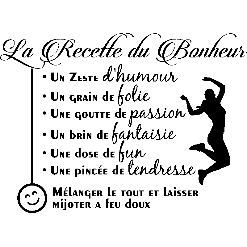 sticker citation la recette du bonheur stickers cuisine recettes ambiance sticker. Black Bedroom Furniture Sets. Home Design Ideas