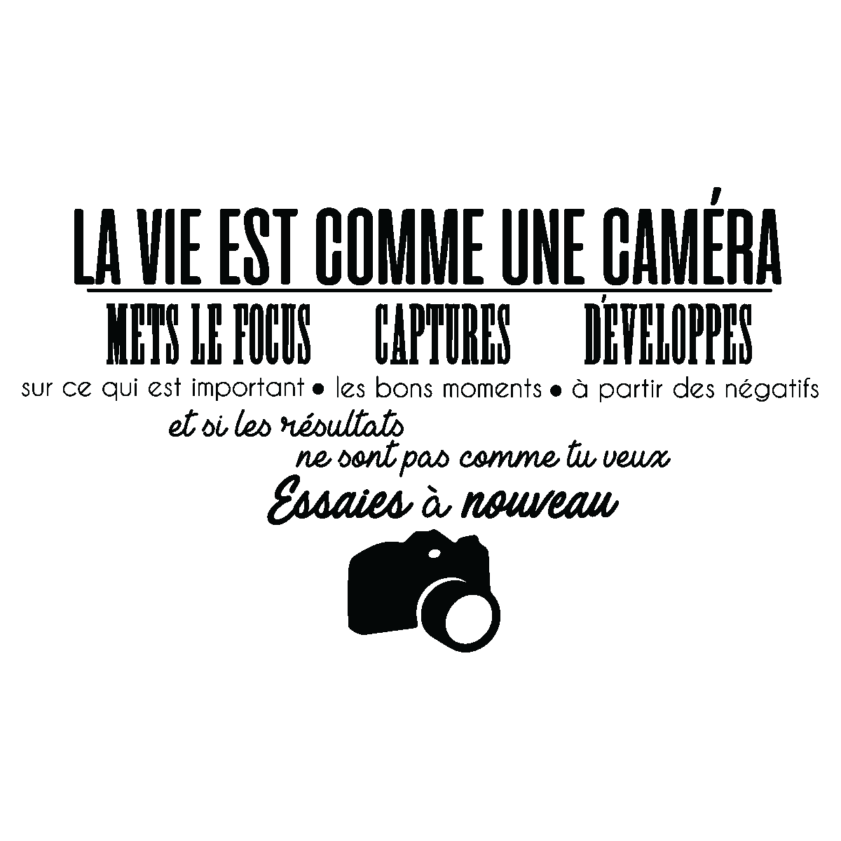 sticker citation la vie est comme une cam ra stickers citations fran ais ambiance sticker. Black Bedroom Furniture Sets. Home Design Ideas