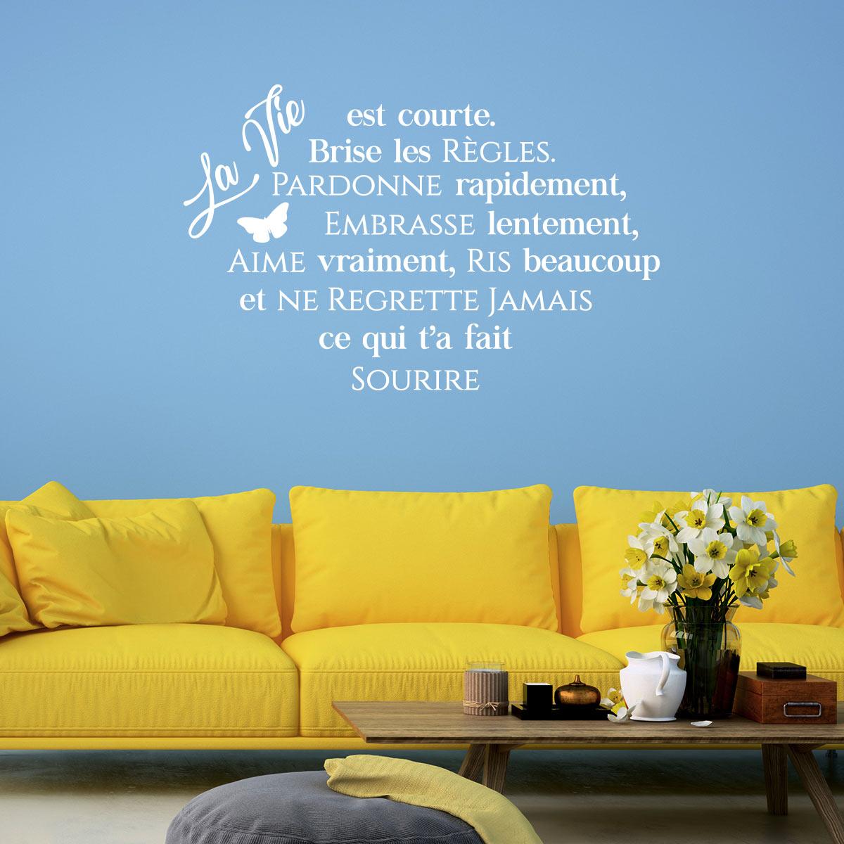 sticker citation la vie est courte stickers citations. Black Bedroom Furniture Sets. Home Design Ideas