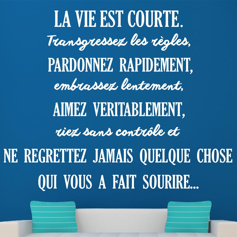 Sticker citation la vie est courte stickers citations fran ais ambiance sticker - Citation d amour courte ...