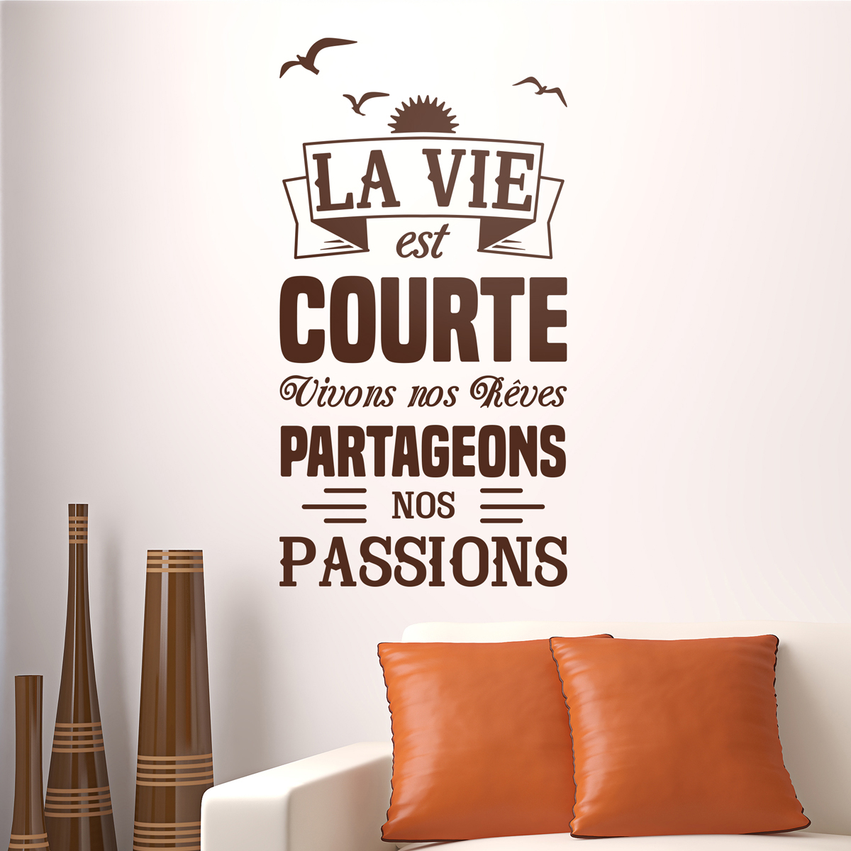 sticker citation la vie est courte partageons nos. Black Bedroom Furniture Sets. Home Design Ideas