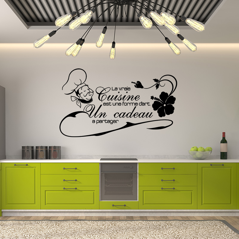 sticker citation la vraie cuisine est une forme d 39 art stickers cuisine textes et recettes. Black Bedroom Furniture Sets. Home Design Ideas