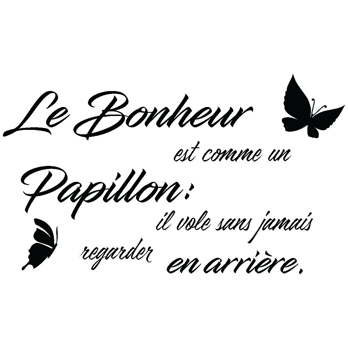 sticker citation le bonheur est comme un papillon stickers citations fran ais ambiance sticker. Black Bedroom Furniture Sets. Home Design Ideas