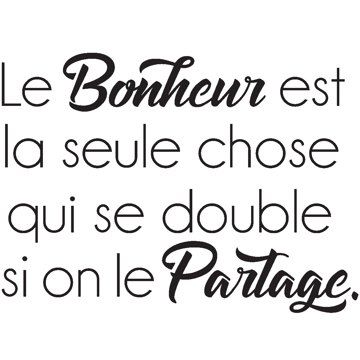 sticker citation le bonheur est la seule chose stickers. Black Bedroom Furniture Sets. Home Design Ideas