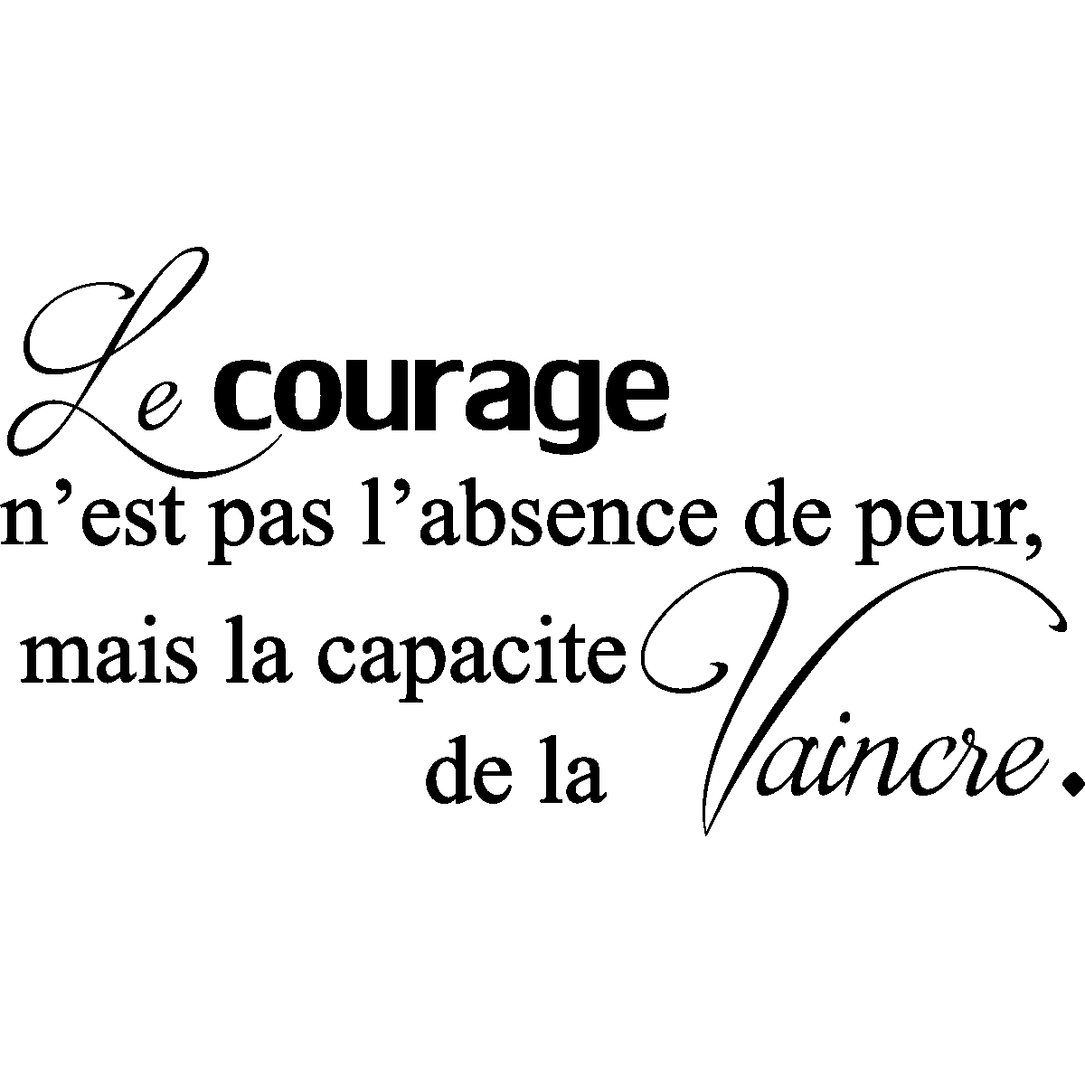 Sticker Citation Le Courage N Est Pas L Absence De Peur Stickers Citations Fran 231 Ais Ambiance