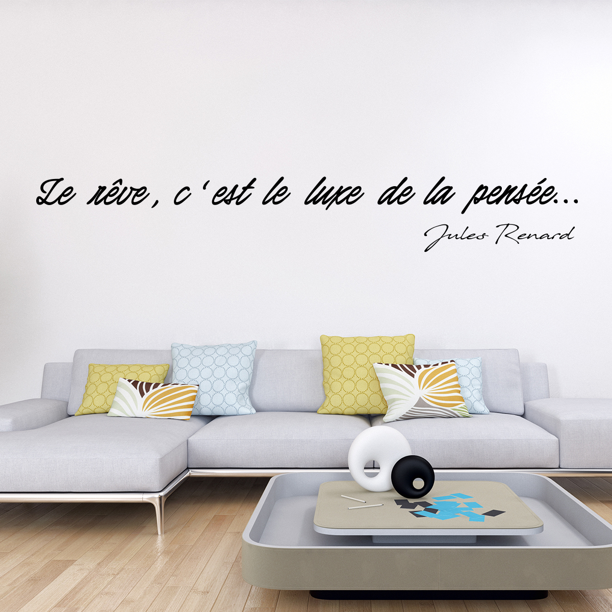 sticker citation le r ve c 39 est le luxe de la pens e. Black Bedroom Furniture Sets. Home Design Ideas