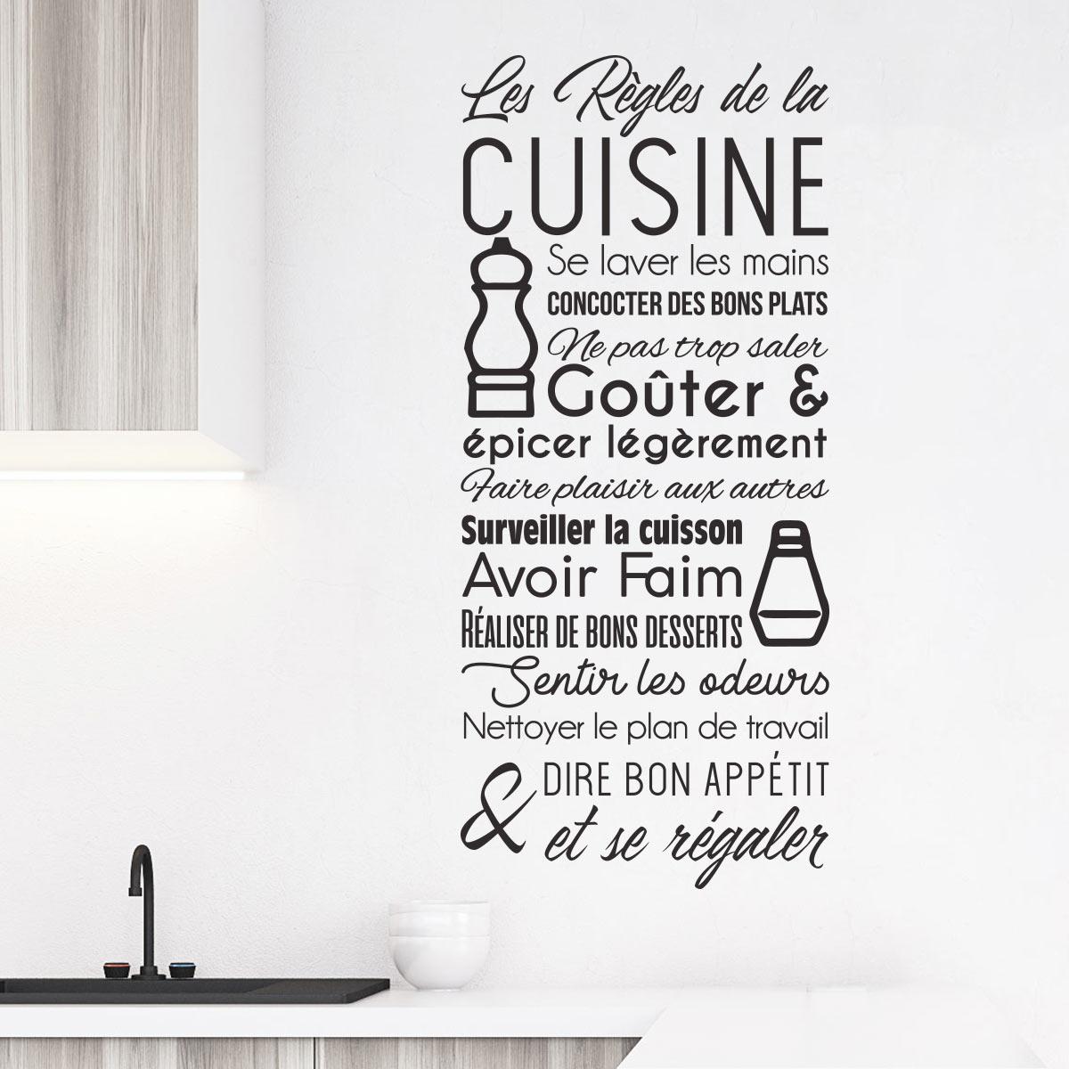 Sticker citation les r gles de la cuisine stickers citations fran ais ambiance sticker - Recette de cuisine drole ...