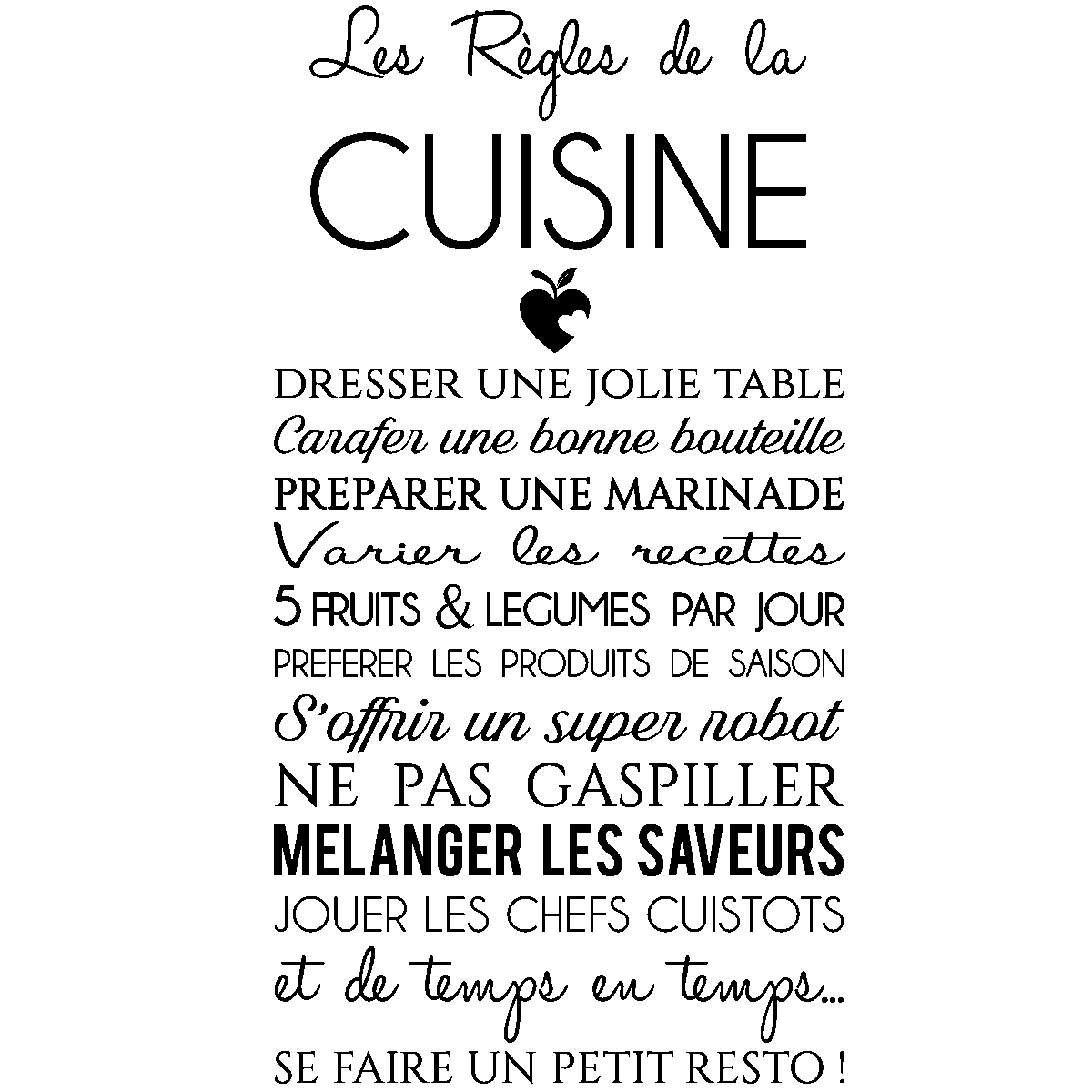sticker citation les r gles de la cuisine stickers citations fran ais ambiance sticker. Black Bedroom Furniture Sets. Home Design Ideas
