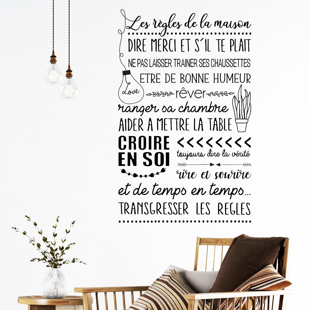 sticker citation les r gles de la maison style scandinave. Black Bedroom Furniture Sets. Home Design Ideas