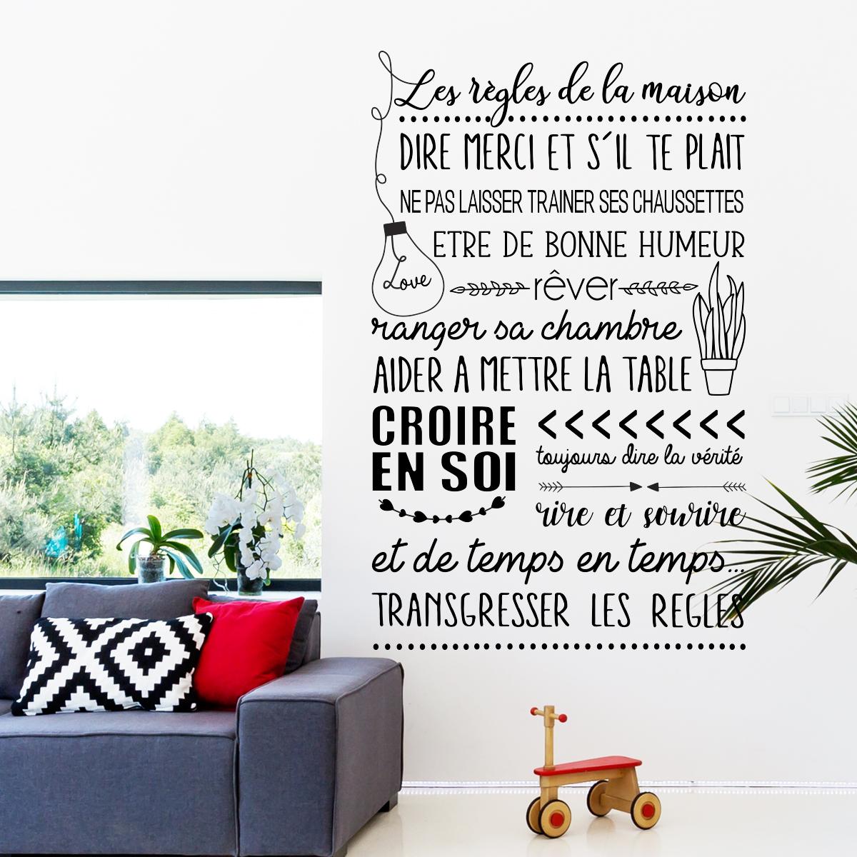 Sticker citation les r gles de la maison style scandinave stickers citations fran ais - Maison style scandinave ...