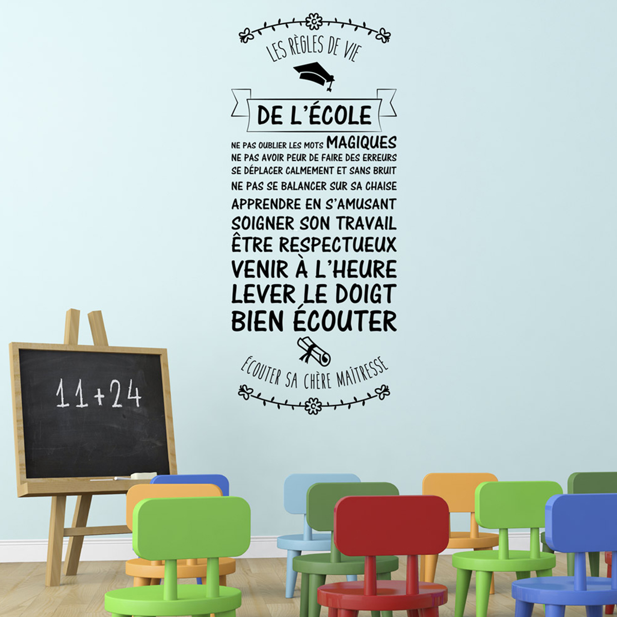 Sticker citation les r gles de vie de l 39 cole stickers for Autocollant mural texte