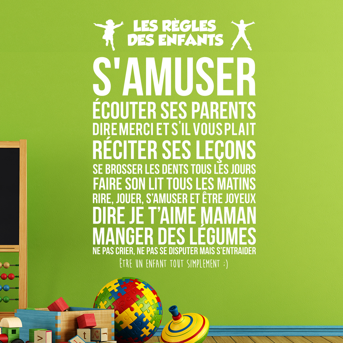 Sticker citation les r gles des enfants stickers - Stickers muraux les regles de la maison ...