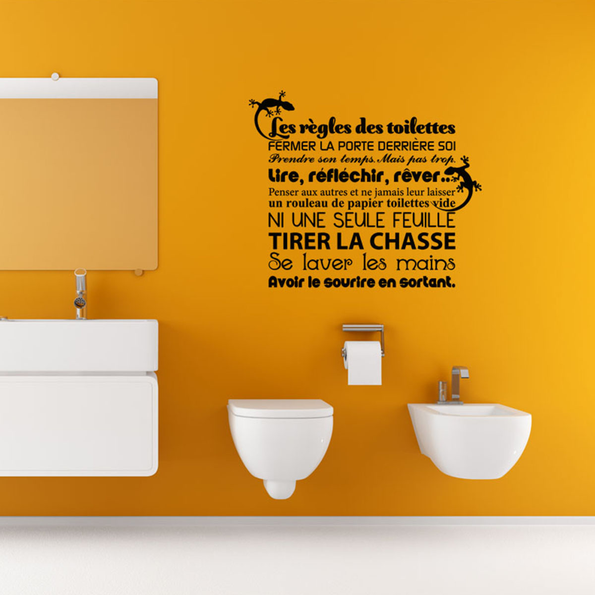 Sticker citation les r gles des toilettes stickers for Stickers pour porte toilettes