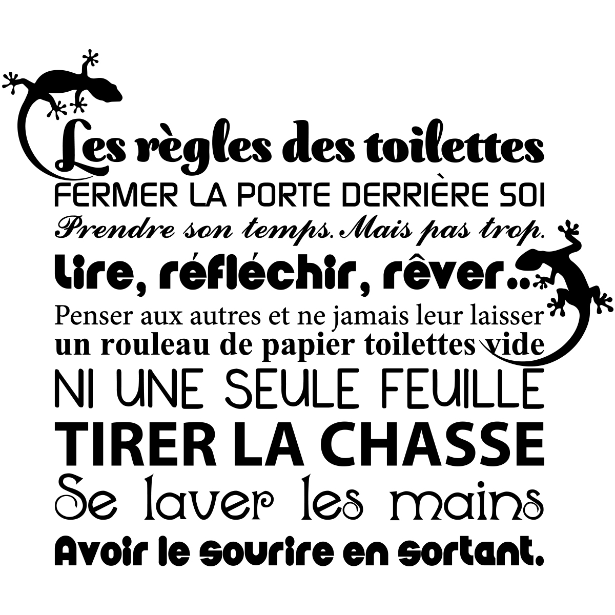 sticker citation les r gles des toilettes stickers toilettes porte ambiance sticker. Black Bedroom Furniture Sets. Home Design Ideas