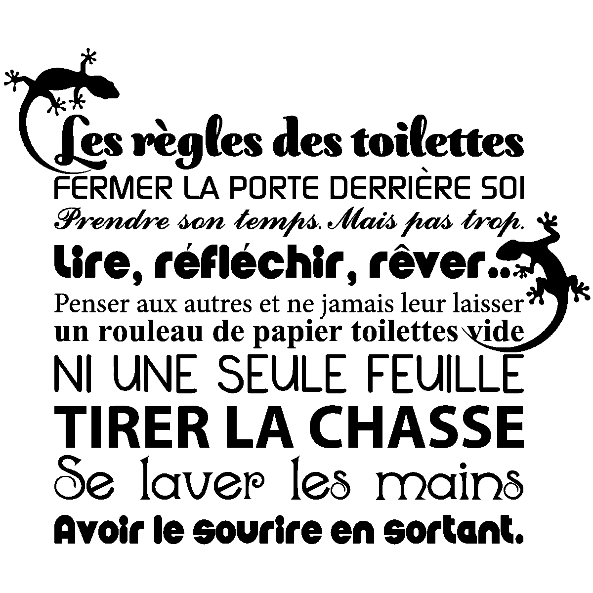 Favori Sticker citation Les règles des toilettes – Stickers Toilettes  VJ56