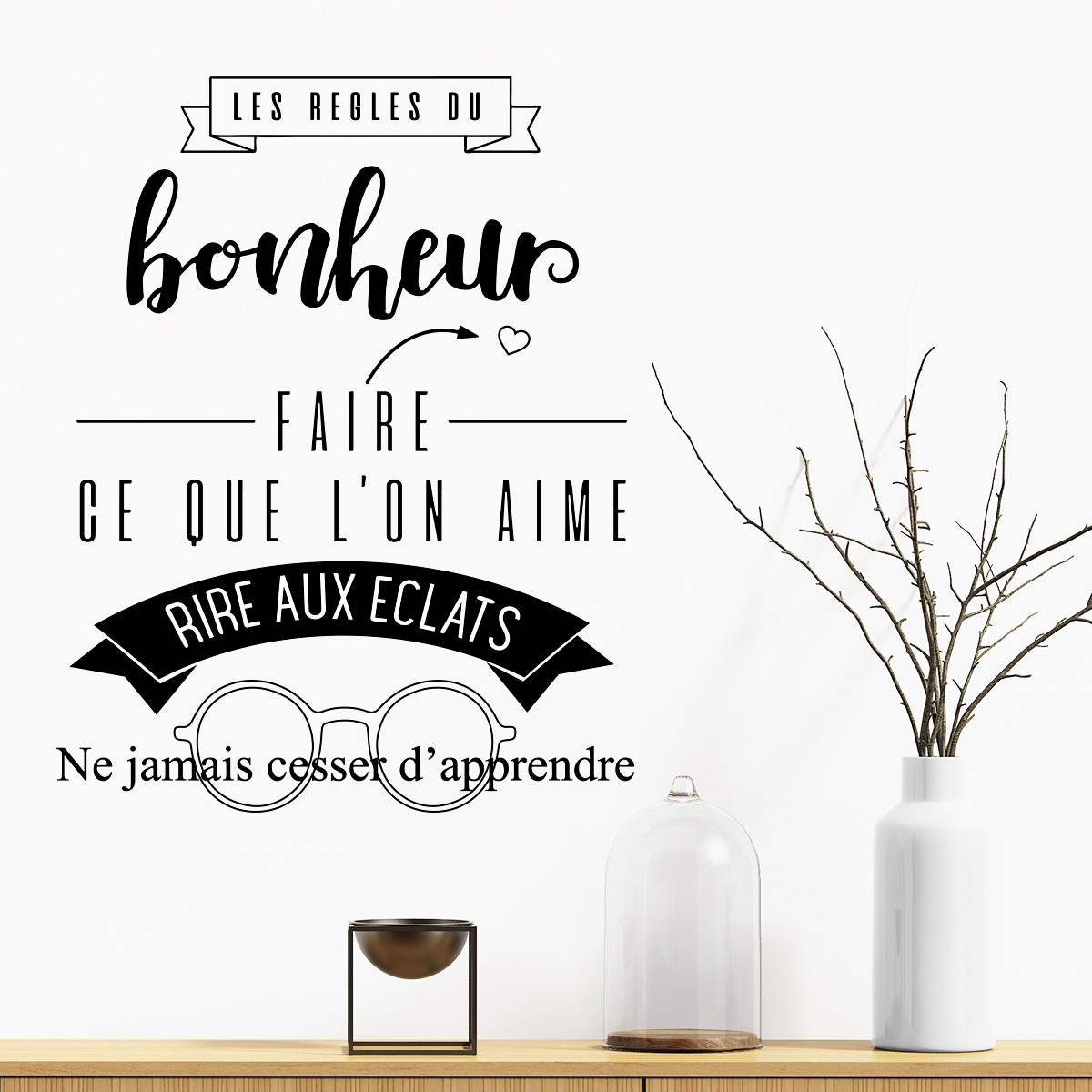 sticker citation les regles du bonheur stickers citations fran ais ambiance sticker. Black Bedroom Furniture Sets. Home Design Ideas