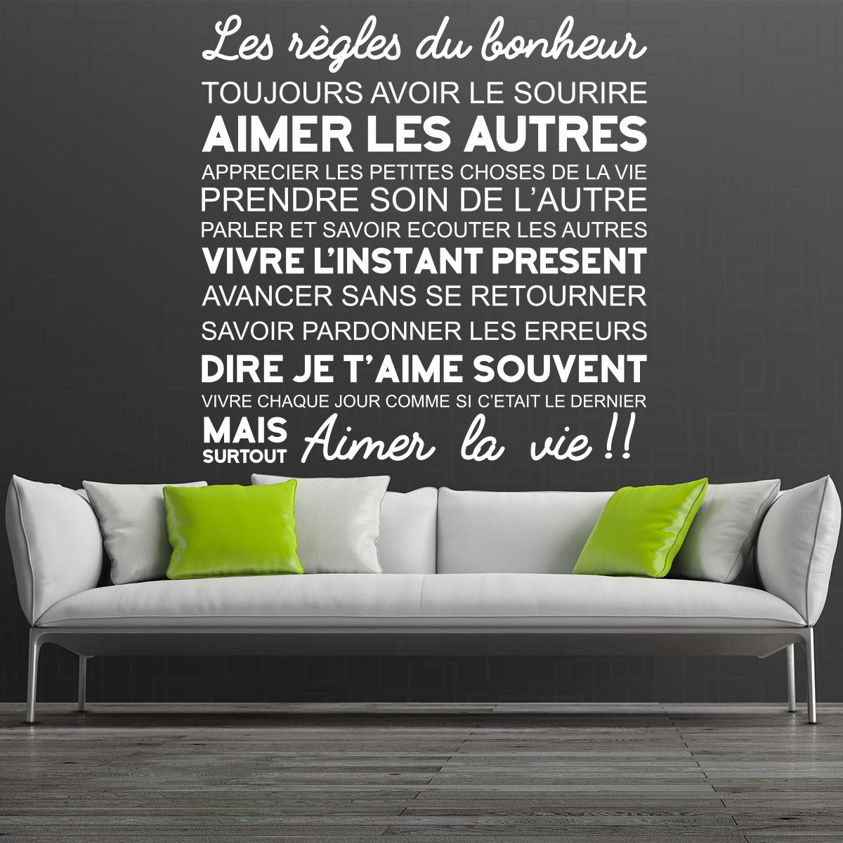 sticker citation les r gles du bonheur stickers. Black Bedroom Furniture Sets. Home Design Ideas