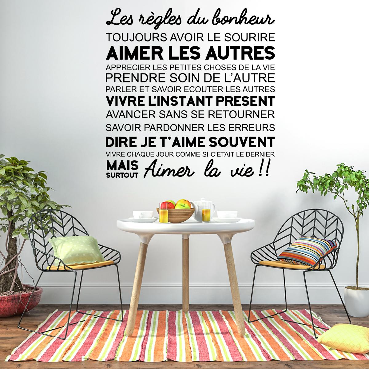 Sticker citation les r gles du bonheur stickers - La maison du stickers ...