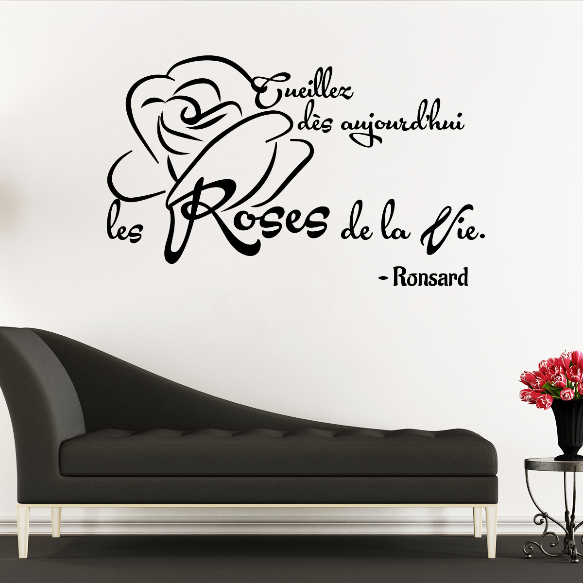 sticker citation les roses de la vie ronsard stickers. Black Bedroom Furniture Sets. Home Design Ideas