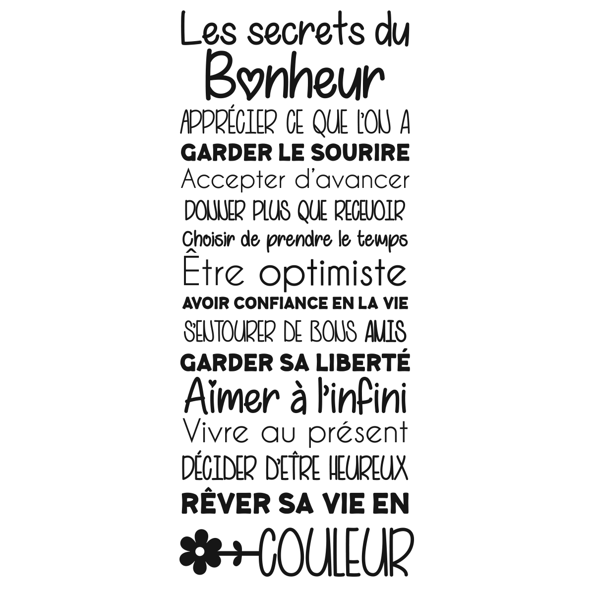 sticker citation les secrets du bonheur stickers citations fran ais ambiance sticker. Black Bedroom Furniture Sets. Home Design Ideas