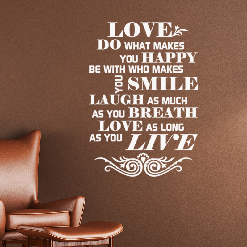 sticker citation love happy smile stickers citations anglais ambiance sticker. Black Bedroom Furniture Sets. Home Design Ideas