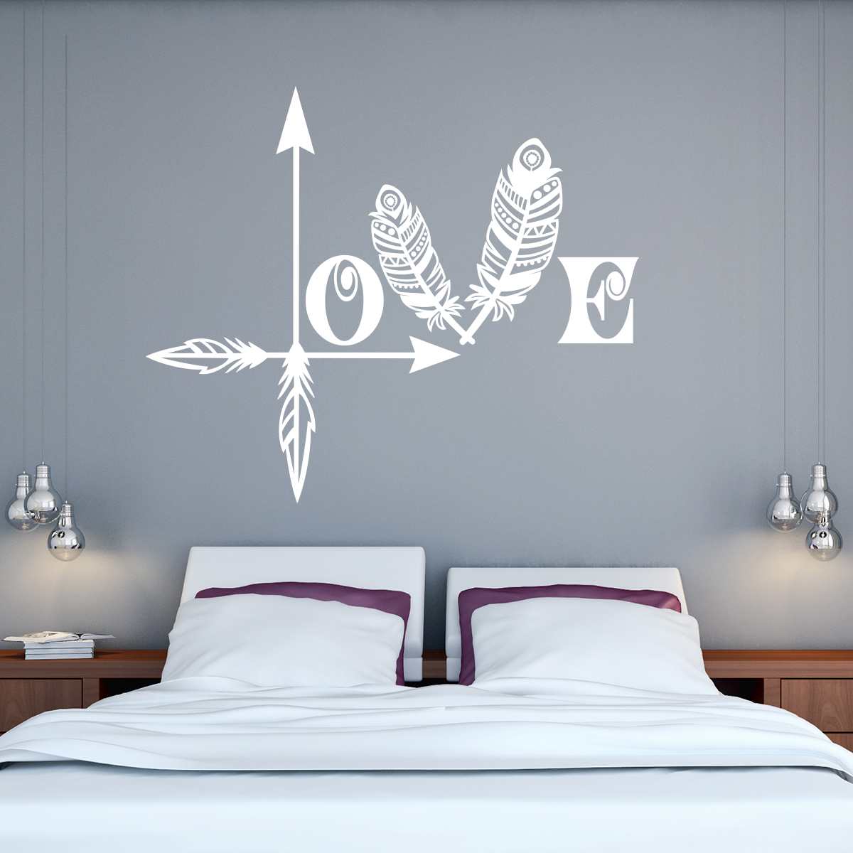 sticker citation love et plumes stickers citations anglais ambiance sticker. Black Bedroom Furniture Sets. Home Design Ideas