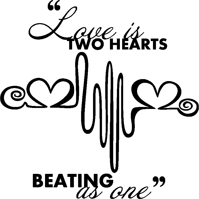 sticker citation love is two hearts stickers citations. Black Bedroom Furniture Sets. Home Design Ideas
