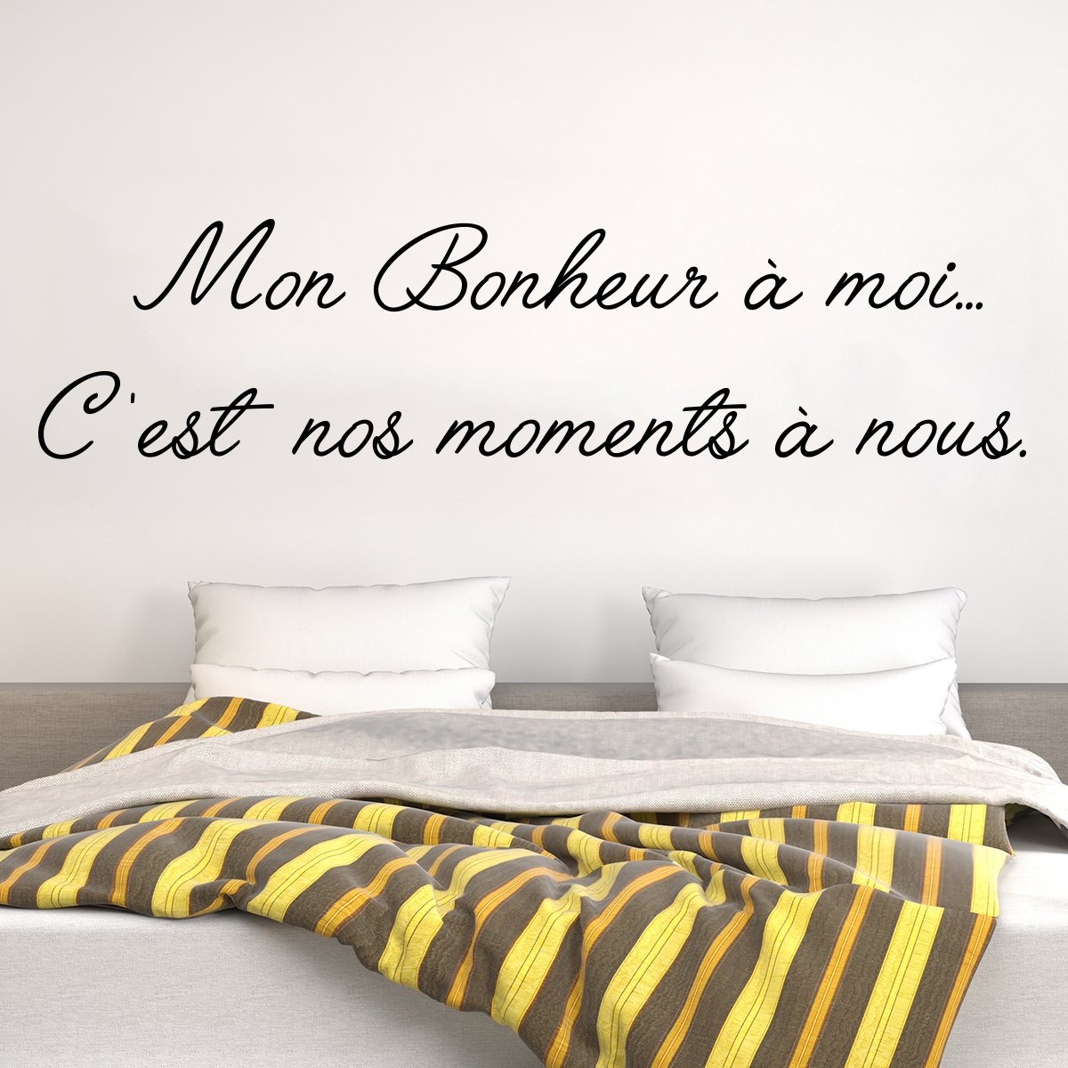 sticker citation mon bonheur moi stickers citations fran ais ambiance sticker. Black Bedroom Furniture Sets. Home Design Ideas