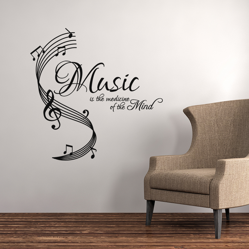 sticker citation music is the medecine stickers musique cinema musique ambiance sticker. Black Bedroom Furniture Sets. Home Design Ideas